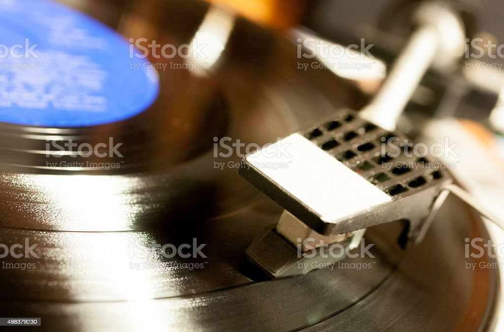 Turntable head on a LP stock photo