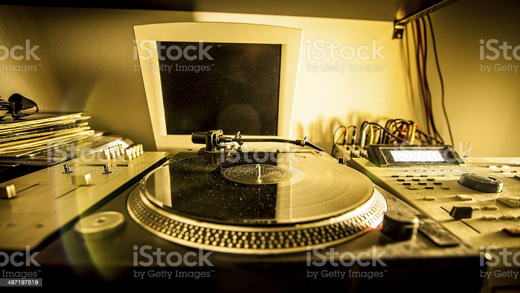 Turntable in home recording studio stock photo