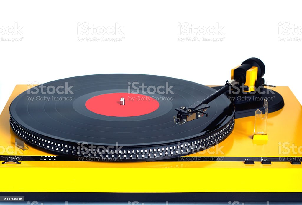 Turntable in yellow case front view isolated stock photo