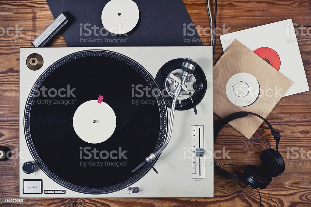 Turntable on an table stock photo