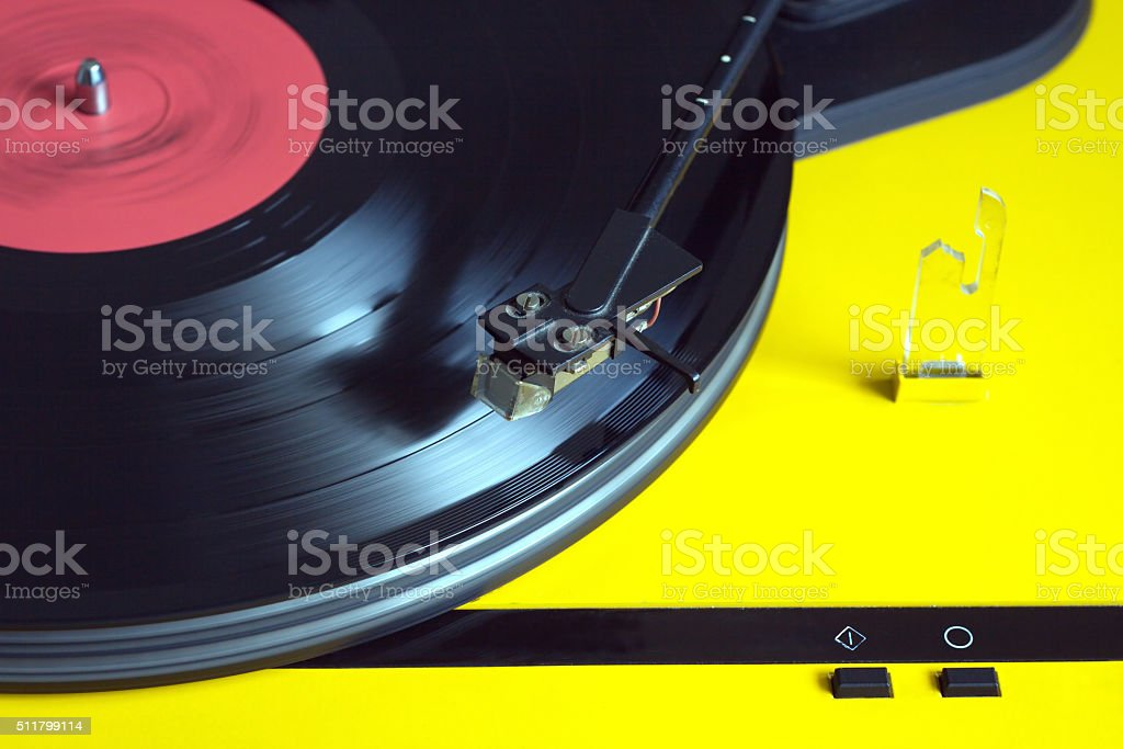 Turntable with vinyl record closeup stock photo