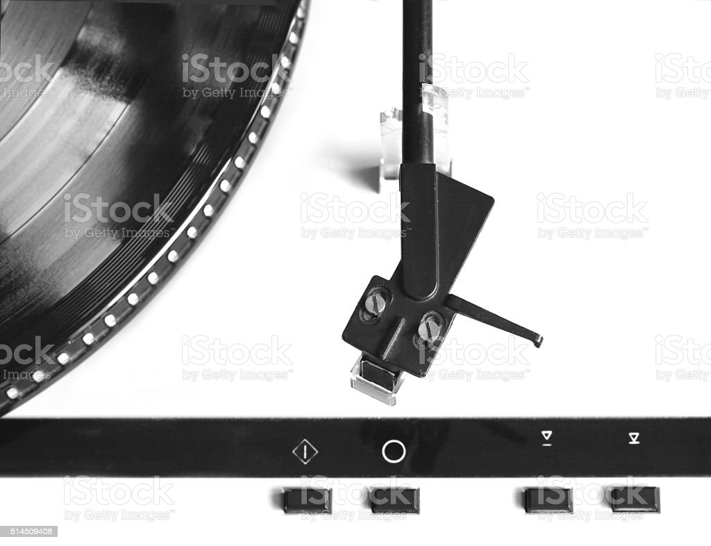 Turntable with vinyl record top view isolated close up stock photo