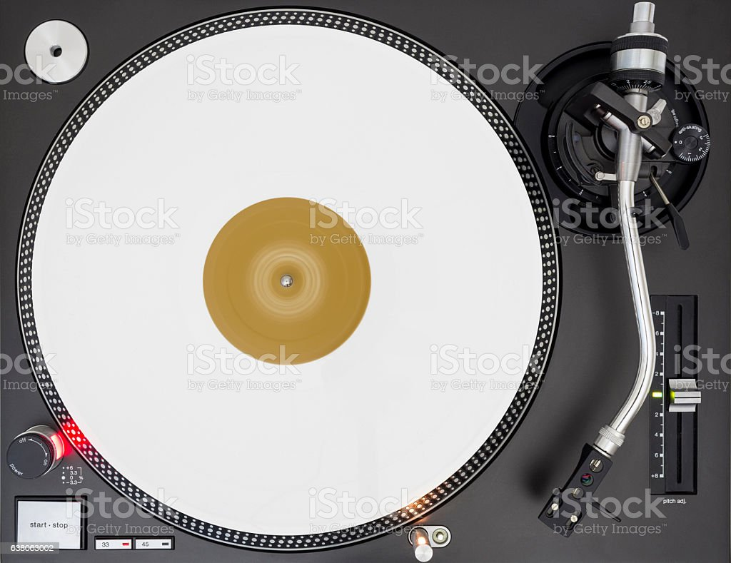 DJ Turntable with White Vinyl Record, Static, Top View stock photo