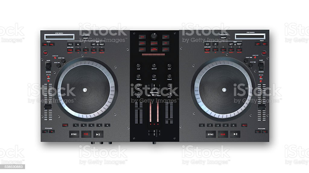Turntables, top view stock photo