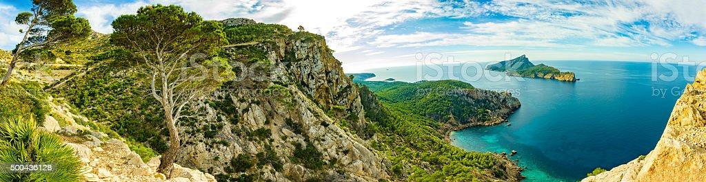 Turqouise Dragonera Island La Trapa Palma de Mallorca Majorca Mountains stock photo