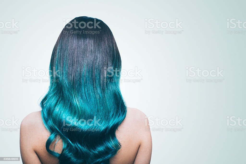 Turquise ombre hair stock photo