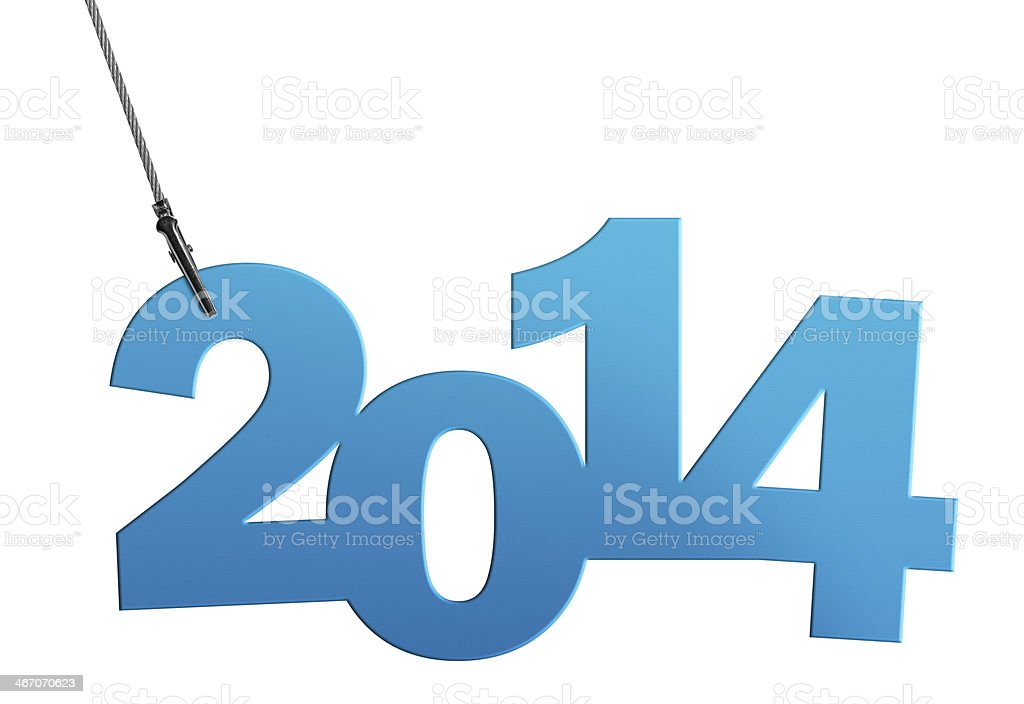 Turquoise 2014 in Wire Clamp (Clipping Path) stock photo