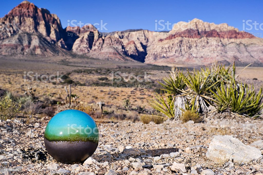 Turquoise & Gray Sphere and Sandstone Mountains stock photo