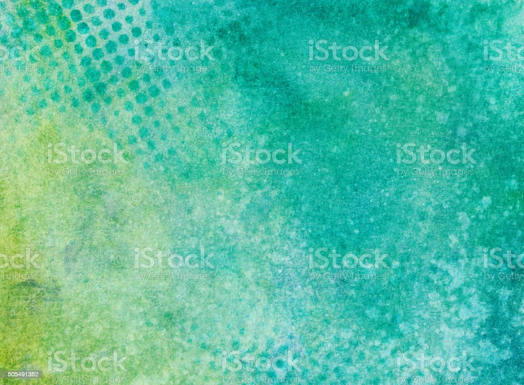 Turquoise and chartreuse mottled background with dotted pattern stock photo