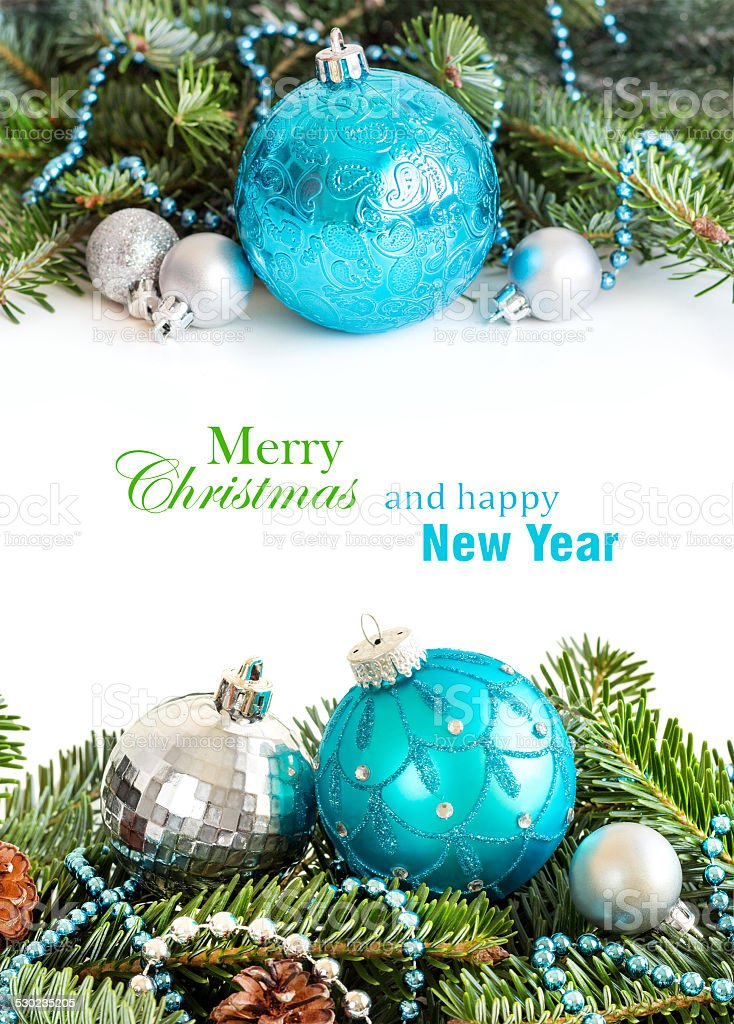 Turquoise and silver Christmas ornaments border stock photo