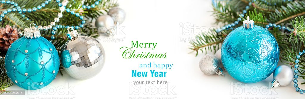 Turquoise and silver Christmas ornaments stock photo