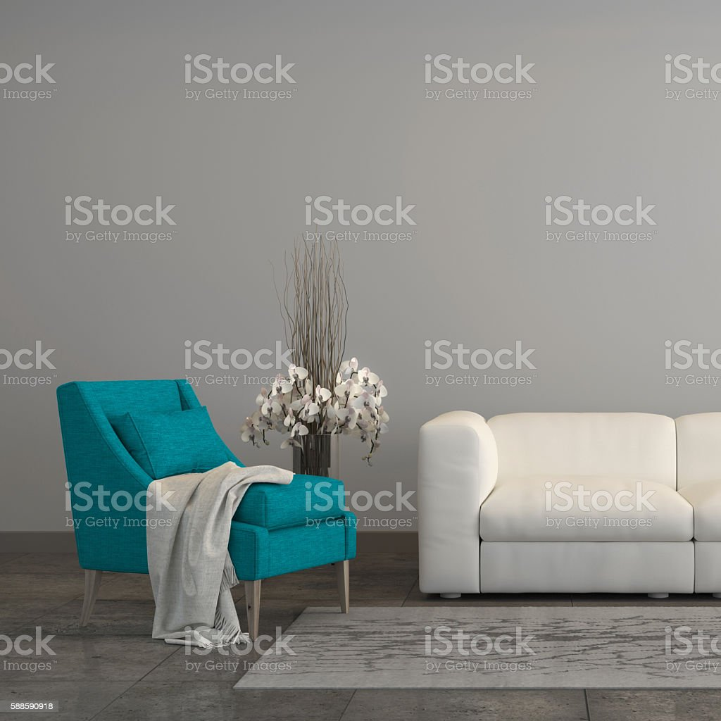 Turquoise armchair with a sofa in the living room stock photo