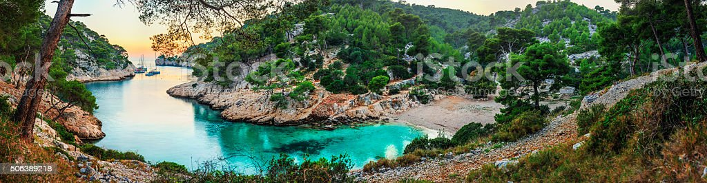 Turquoise bay during sunset - HDR panorama at Fench Riviera stock photo