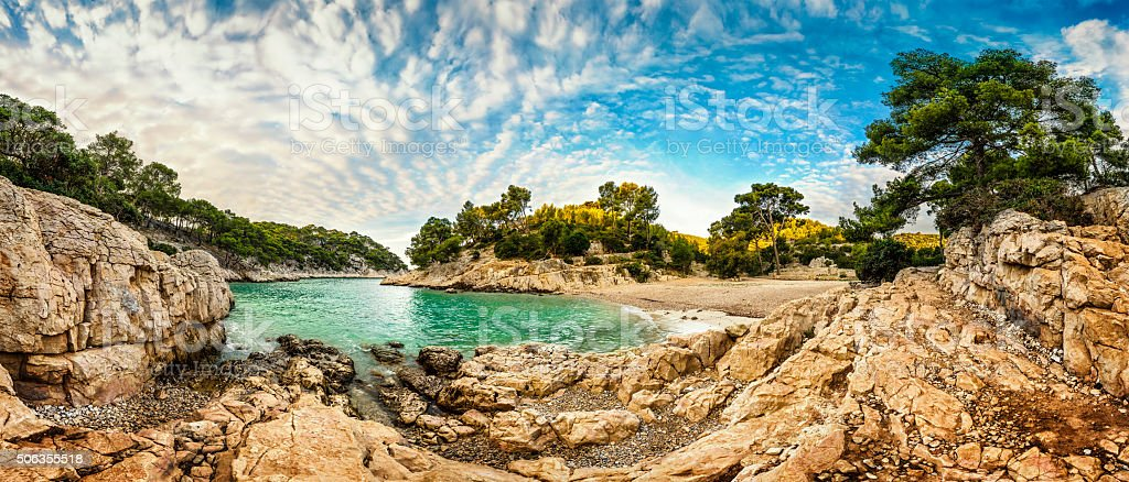 Turquoise bay - HDR panorama at Fench Riviera stock photo