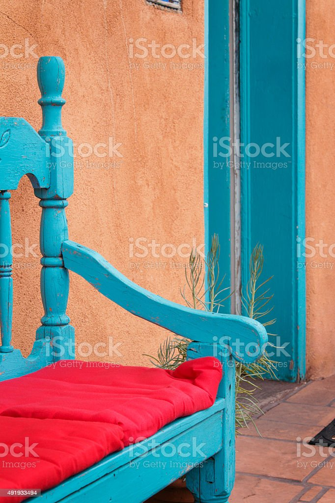 Turquoise Bench and Stucco Adobe, Santa Fe, New Mexico Style stock photo