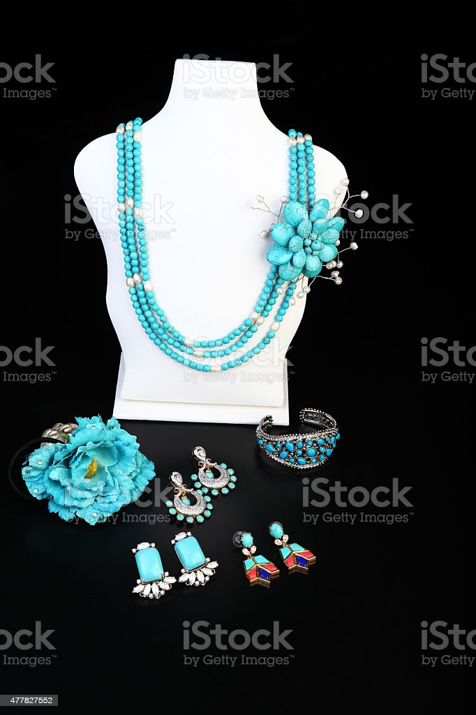 Turquoise brooch Necklace set with earrings, rings, ear studs stock photo