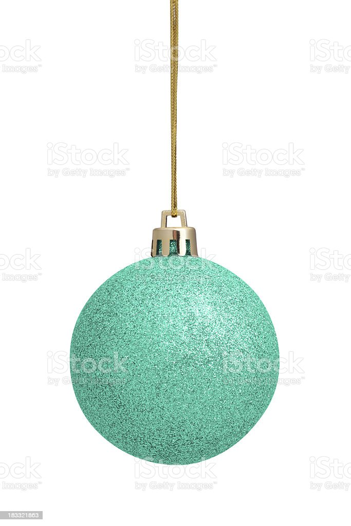 Turquoise Christmas Ball (Isolated) royalty-free stock photo