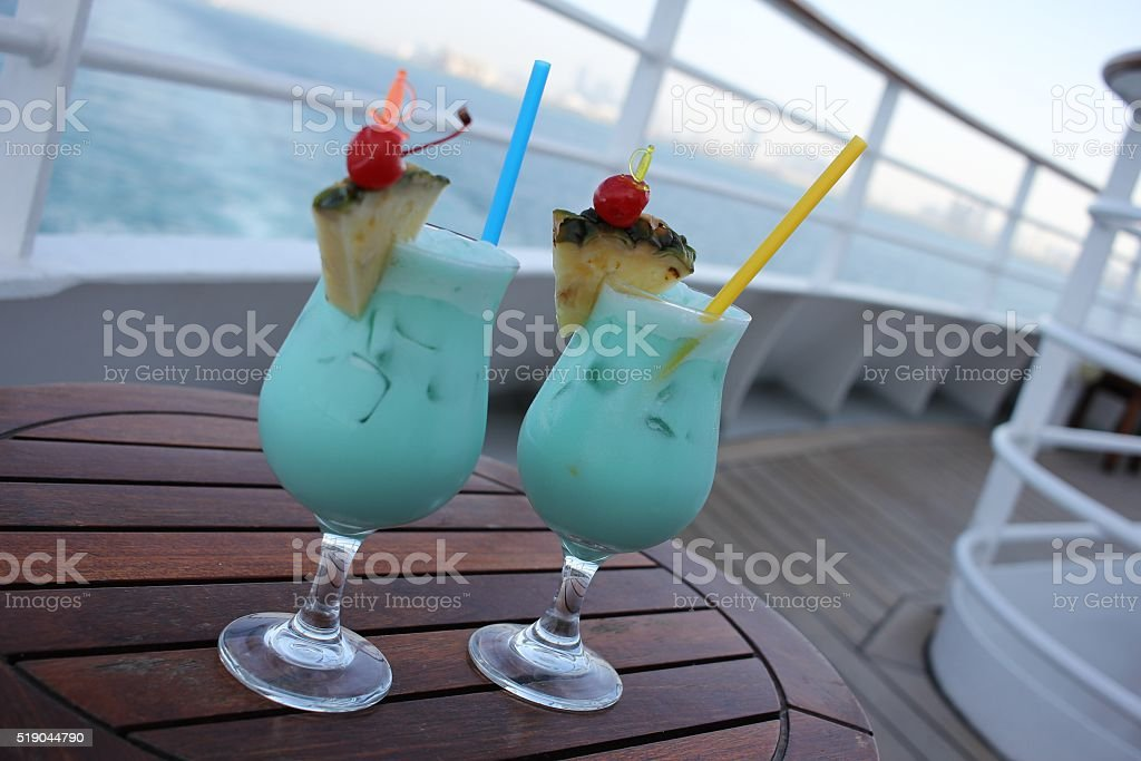 Turquoise cocktails - on shipboard. stock photo