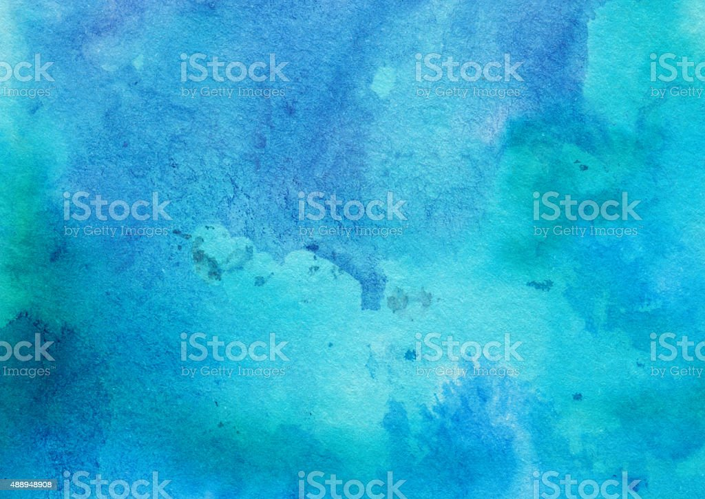 Turquoise colored watercolor and ink painting stock photo