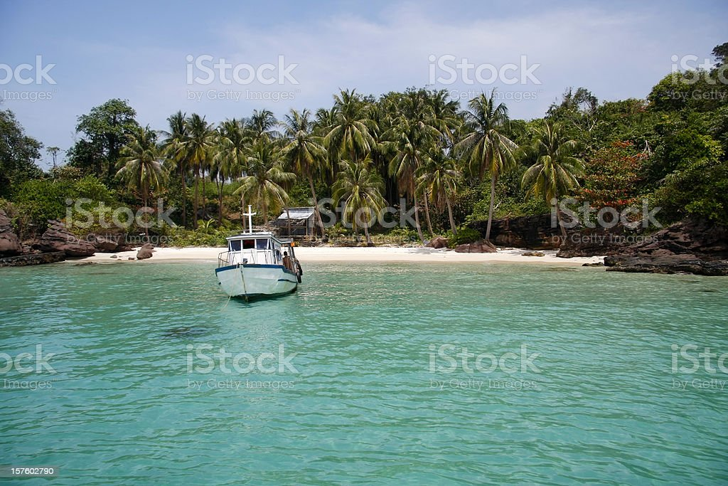 Turquoise crystal clear tropical sea stock photo