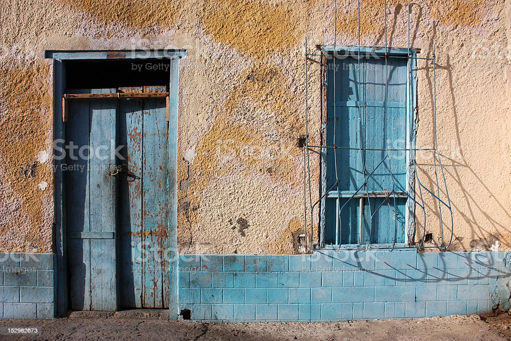 Turquoise Door and Window royalty-free stock photo