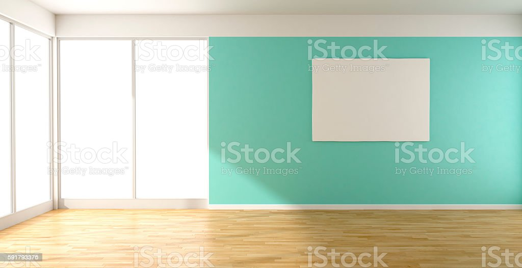 Turquoise empty room and picture stock photo