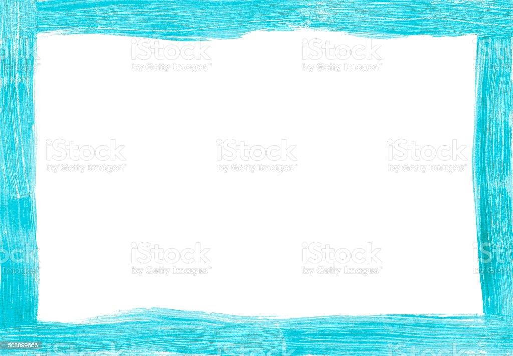 Turquoise freehand painted rectangular border stock photo