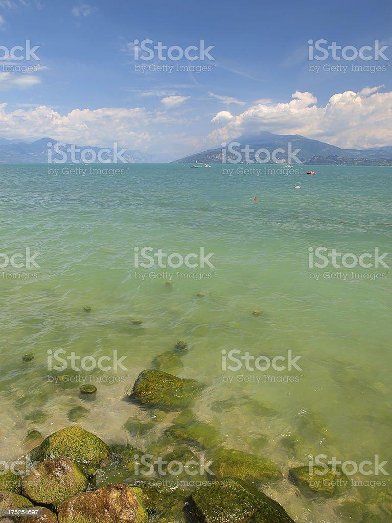 Turquoise Garda lake royalty-free stock photo