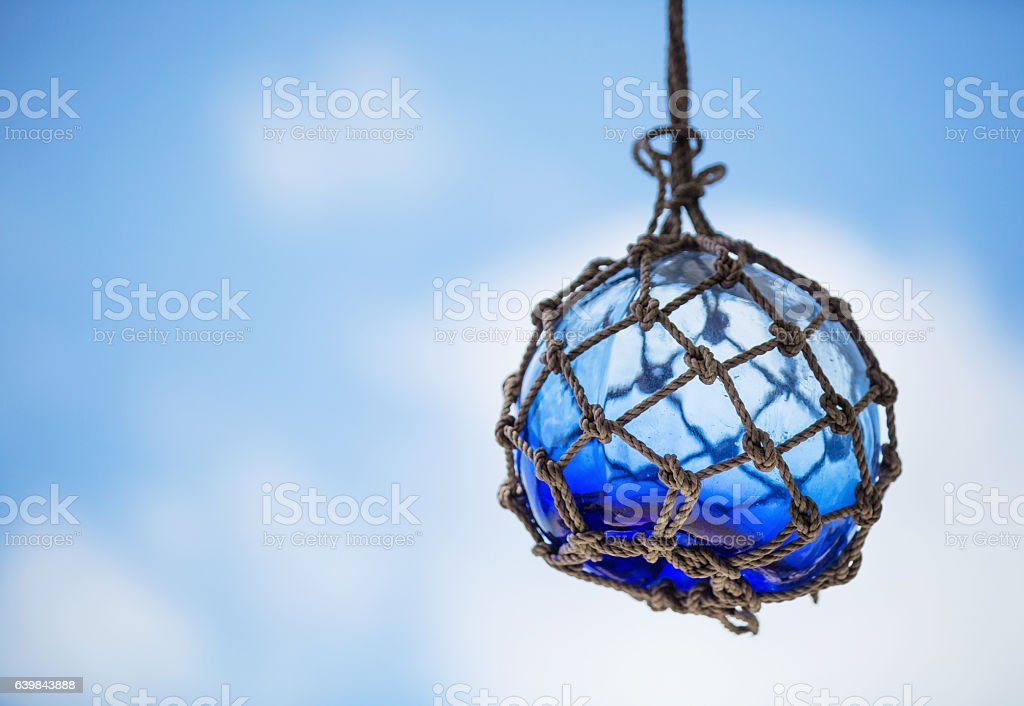 Turquoise Glass Fishing Floats stock photo