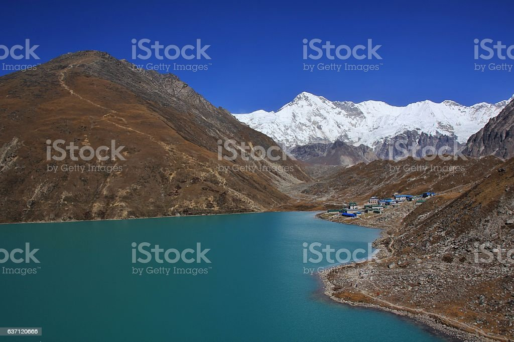 Turquoise Gokyo lake, mount Cho Oyu and Gokyo Ri stock photo