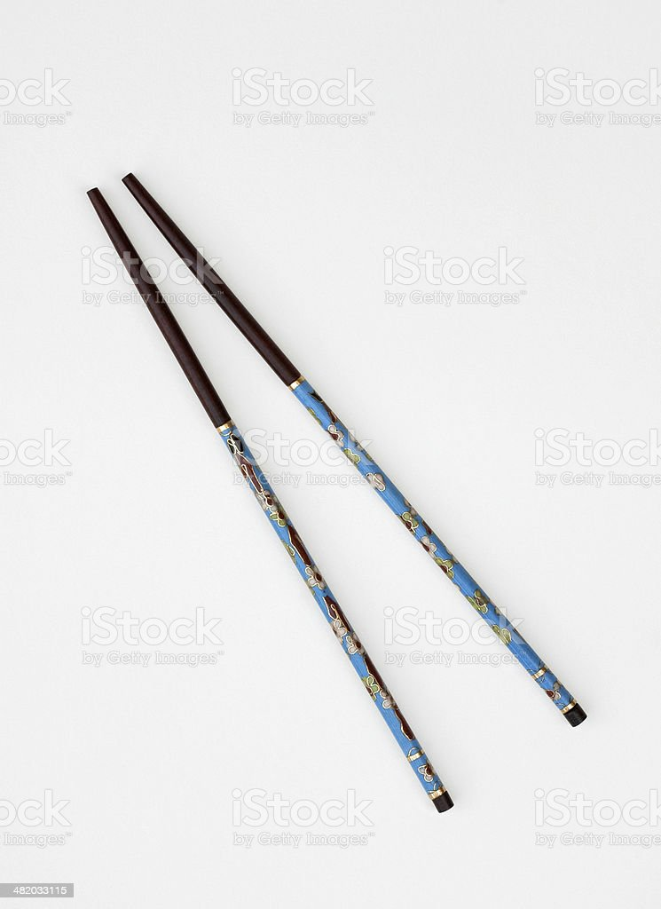 Turquoise Hand Painted Chinese Chopsticks royalty-free stock photo