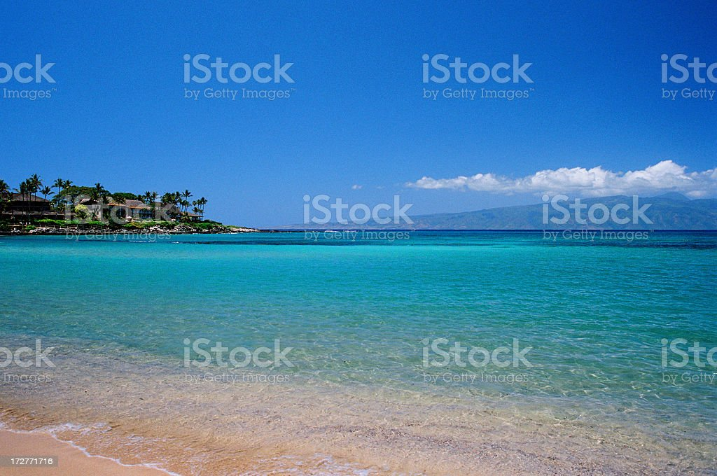 Turquoise Hawaii beach and bay royalty-free stock photo