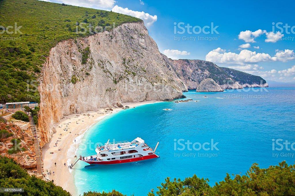 Turquoise Katsiki beach, on Lefkada, Greece. stock photo