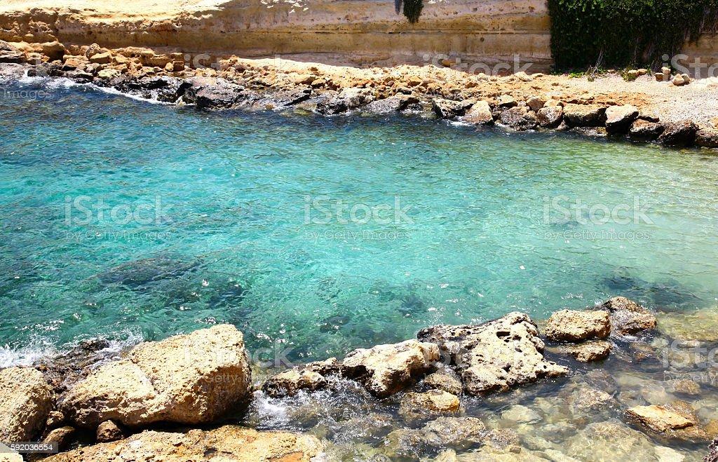 Turquoise lagoon in Protaras Cyprus stock photo