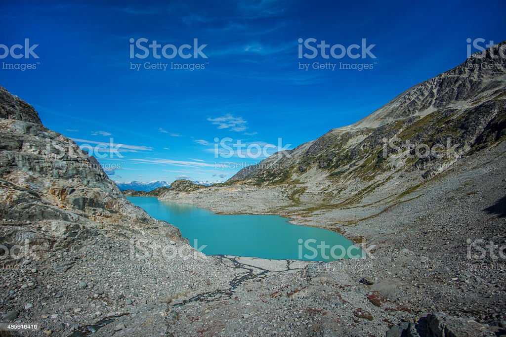 Turquoise lake between two mountains HDR stock photo