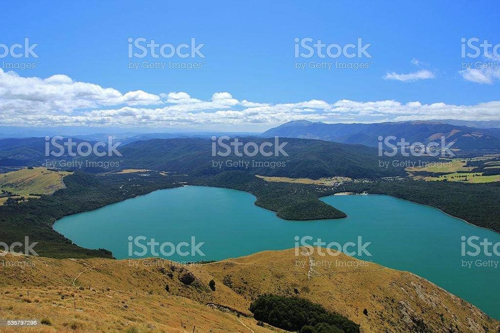 Turquoise Lake Rotoiti, view from Mt Robert stock photo