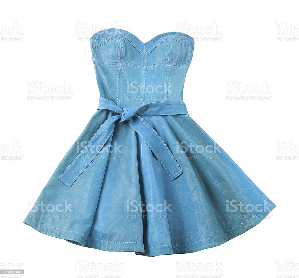 Turquoise leather evase strapless belted dress stock photo