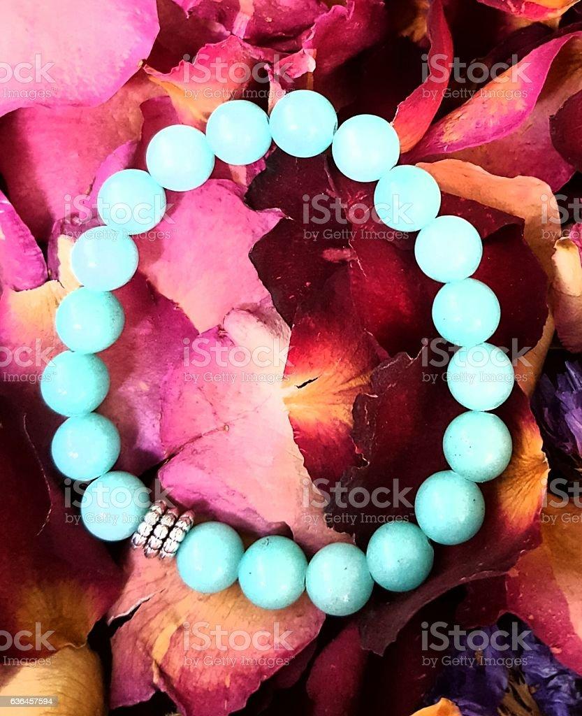 Turquoise Malaysian Jade Bracelet. stock photo