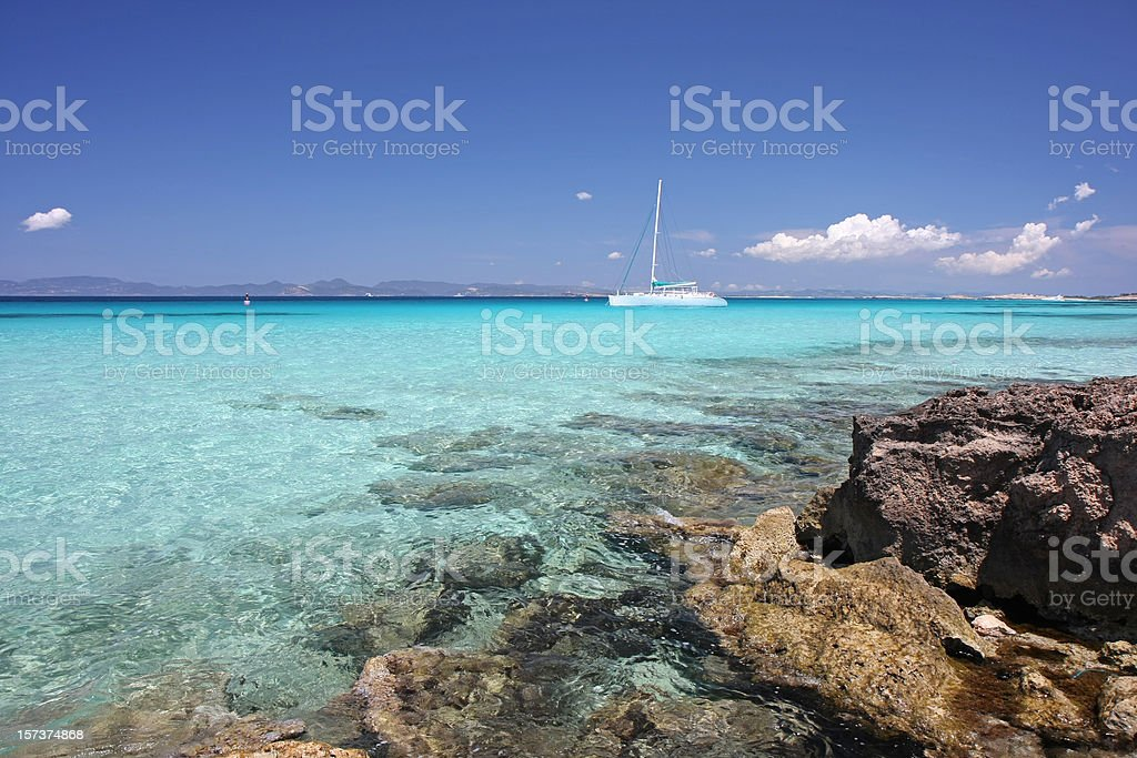 turquoise mediterranean ocean and  yachts royalty-free stock photo