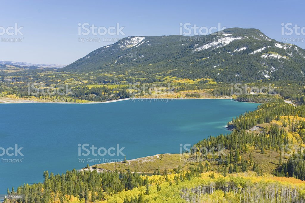 turquoise mountain lake fall stock photo