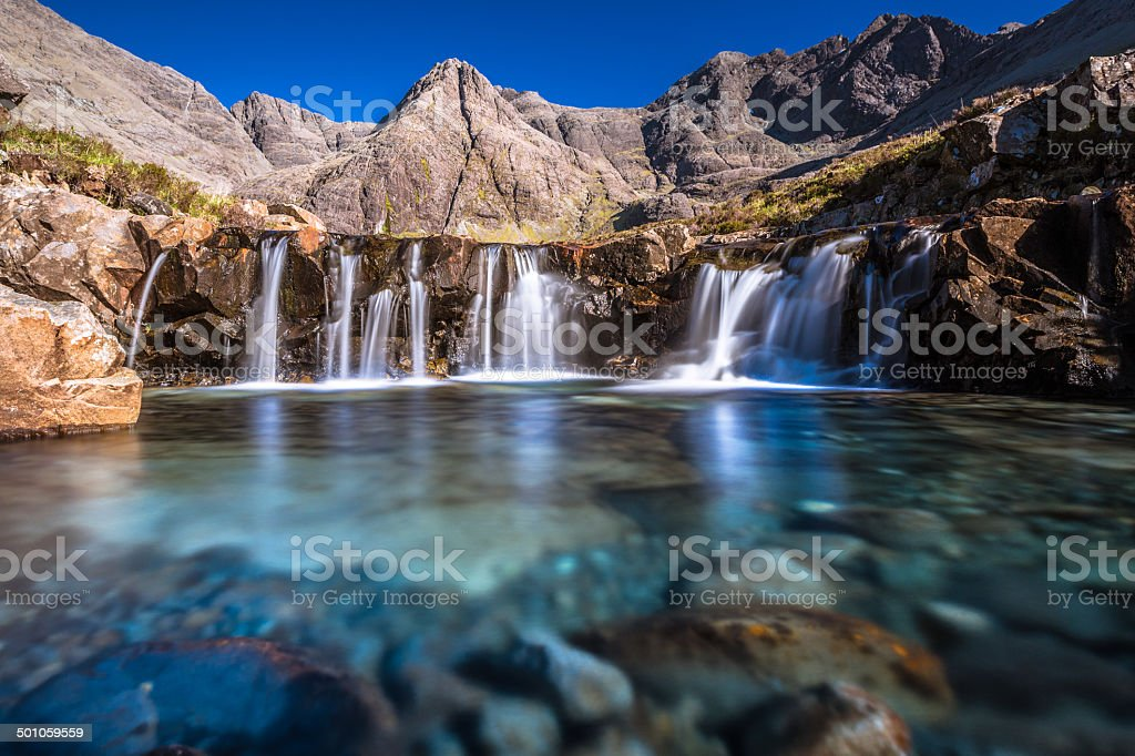 Turquoise pools in Scotland stock photo