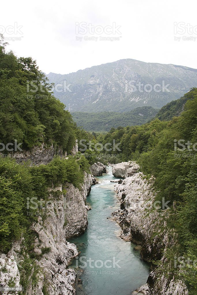 Turquoise river through a beautiful valley stock photo