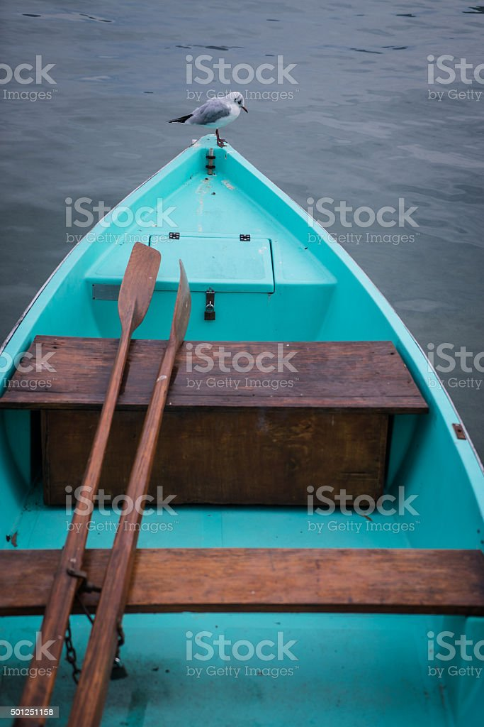 Turquoise rowboat with seagull sitting on end stock photo