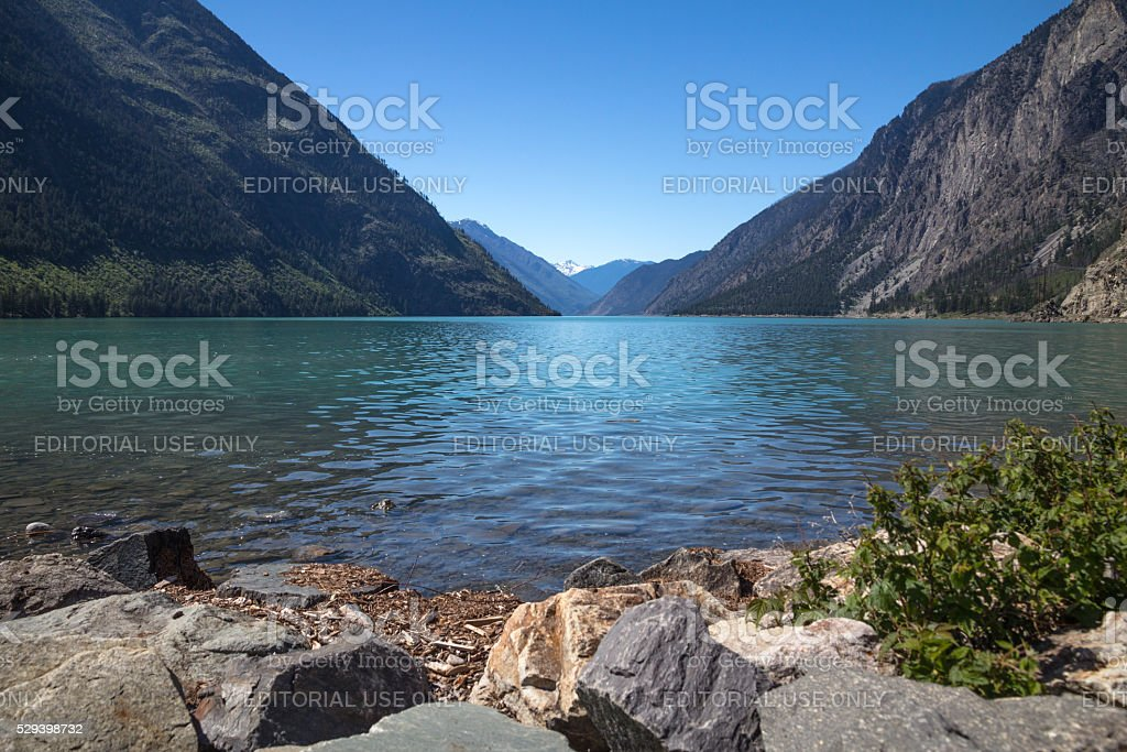 Turquoise Seton Lake near Highway 99 near Lillooet, BC stock photo