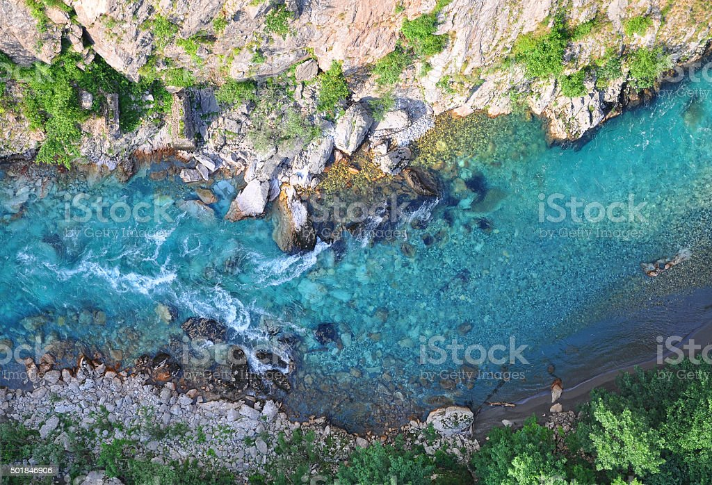 Turquoise Tara river stock photo