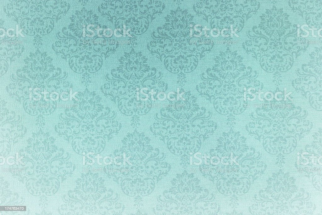 Turquoise victorian pattern linen Fabric Texture stock photo