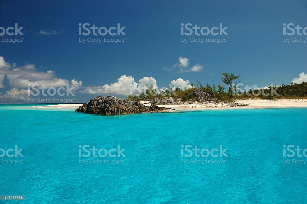 Turquoise water against blue sky stock photo