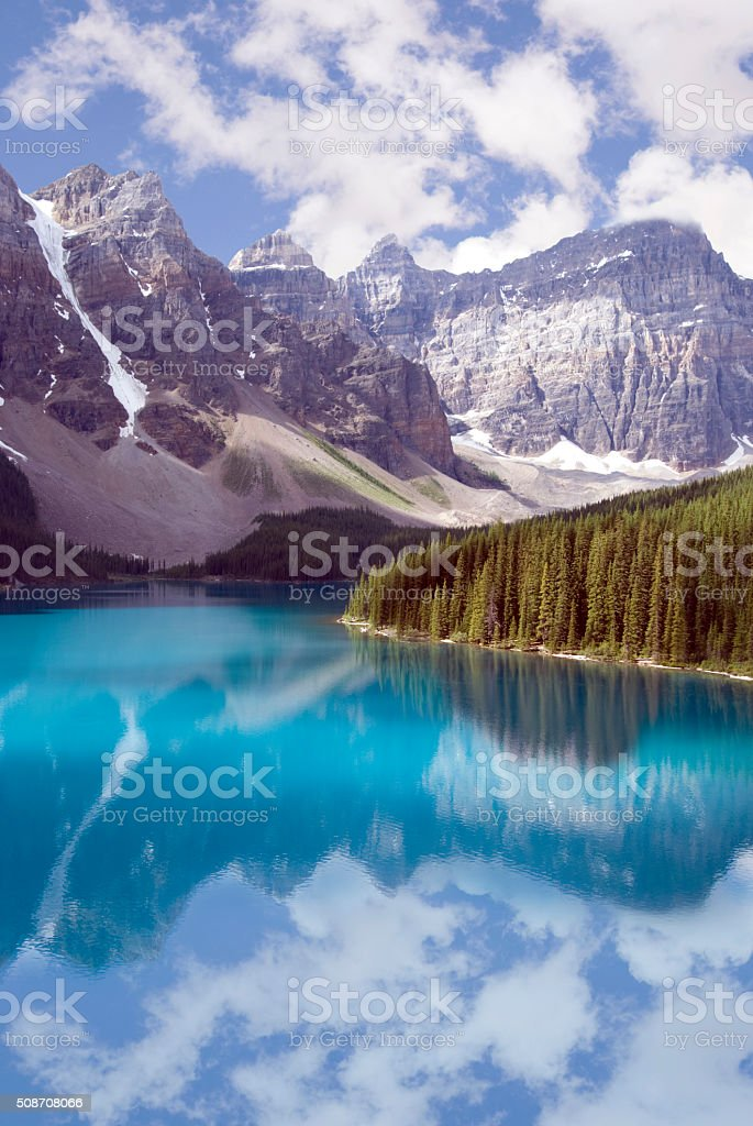 Turquoise water and pine trees at Moraine Lake stock photo