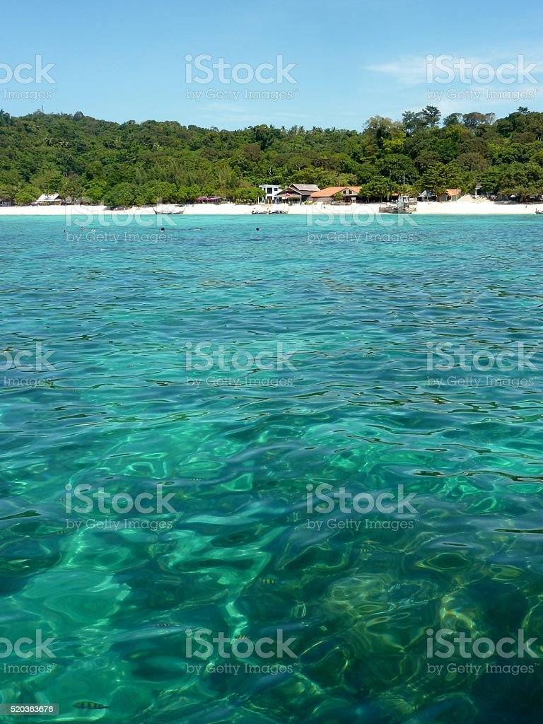 Turquoise water at Long Beach, PhiPhi island, Thailand stock photo