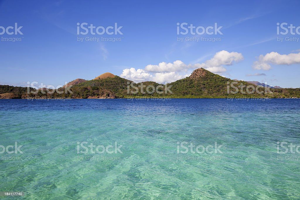 Turquoise water in Coron island, Philippines stock photo
